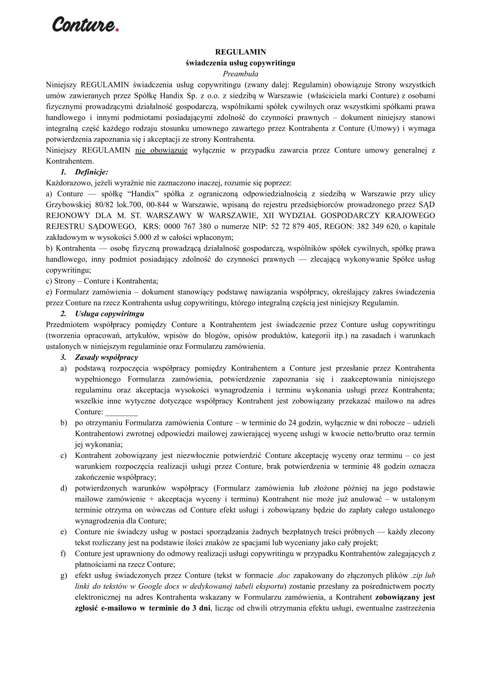 Regulamin Handix 1